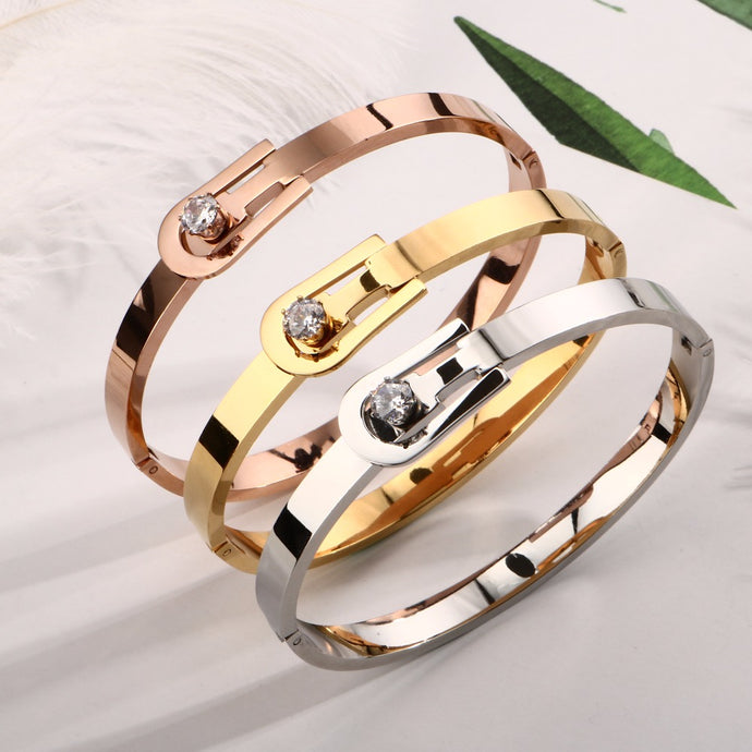 Bracelets Luxury Crystal Belt Bracelets & Bangles Stainless Steel Cuff