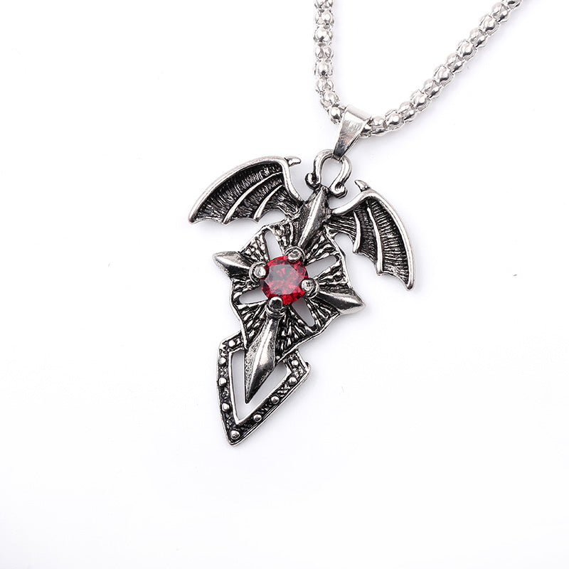 Necklace Evil Wings Red Zircon Crystal Cross Sword Pendant Necklace