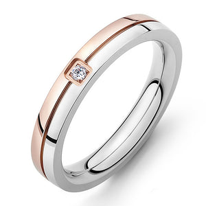 Engagement Rings Two Tone Carved Line Crystal Rings Fit Women