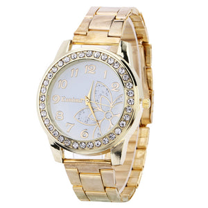 Watches Women's Rhinestone Floral Design Stainless Steel Gold Plated Luxury Wristwatch