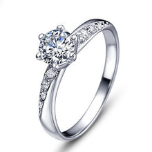 Engagement Rings Silver Plated Solitaire Cubic Zirconia Bridal Ring