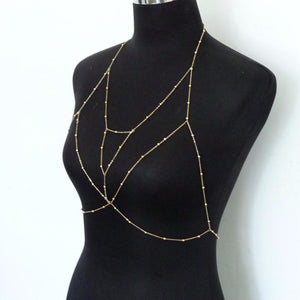 body jewelry Vintage Gold or Silver Multilayer Chain Bra
