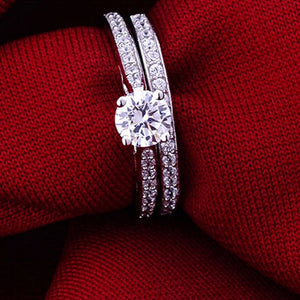 Engagement Rings Halo Princess Cut Crystal Silver Relationship Rings