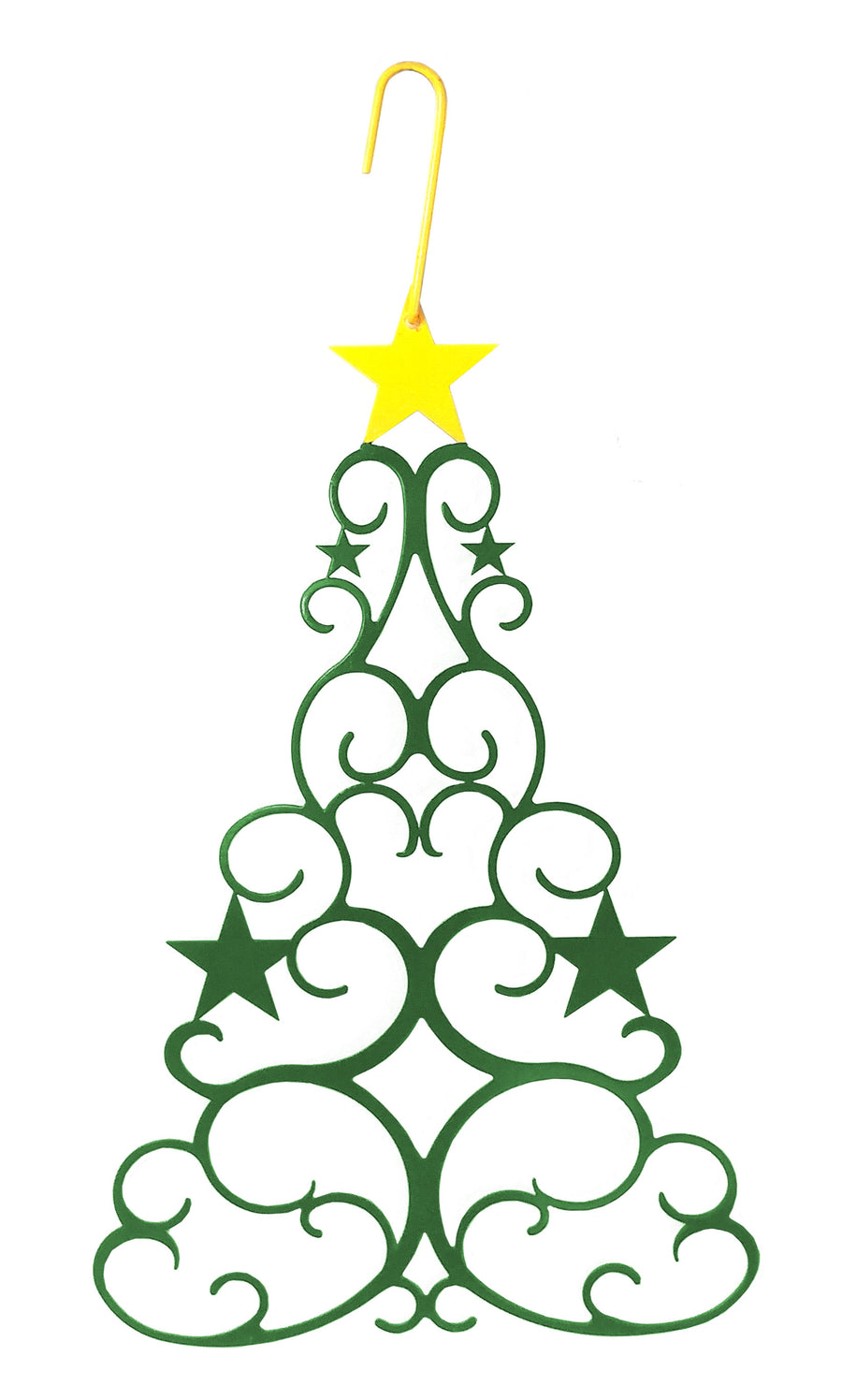 Wrought Iron 16 Inch Green Christmas Tree Hanging Silhouette