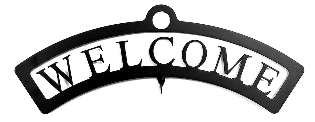 Wrought Iron Welcome Sign Small for Hanging Silhouettes