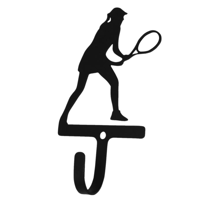 Wrought Iron Tennis Girl Wall Hook Small -Wrought Iron Haven