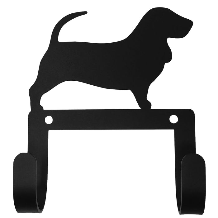 Wrought Iron Basset Hound Dog Leash & Collar Wall Hook -Wrought Iron Haven