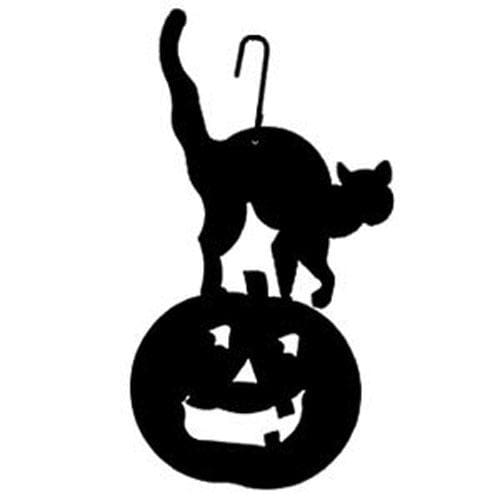 Wrought Iron 16 Inch Cat Pumpkin Hanging Silhouette Autumn Decorations Halloween Decorations hanging