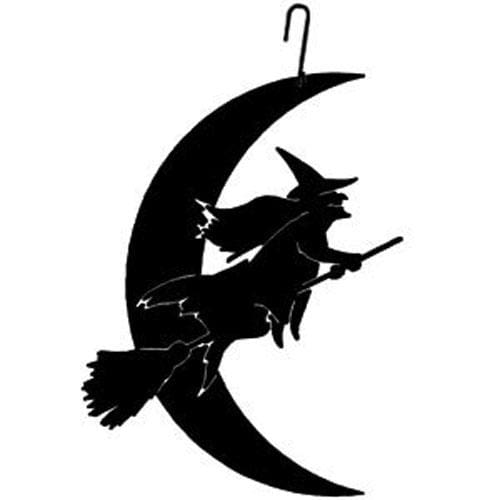 Wrought Iron 16 Inch Witch & Moon Hanging Silhouette Autumn Decorations Halloween Decorations