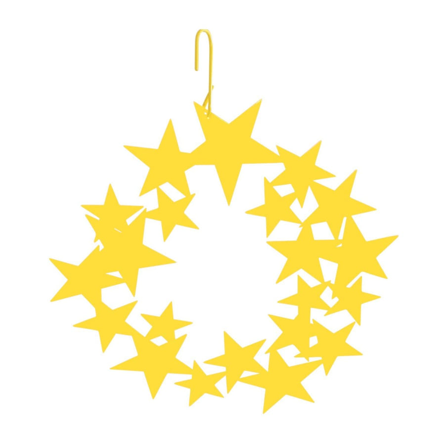 Wrought Iron 16 Inch Yellow Star Wreath Hanging Silhouette Christmas decorations door wreaths