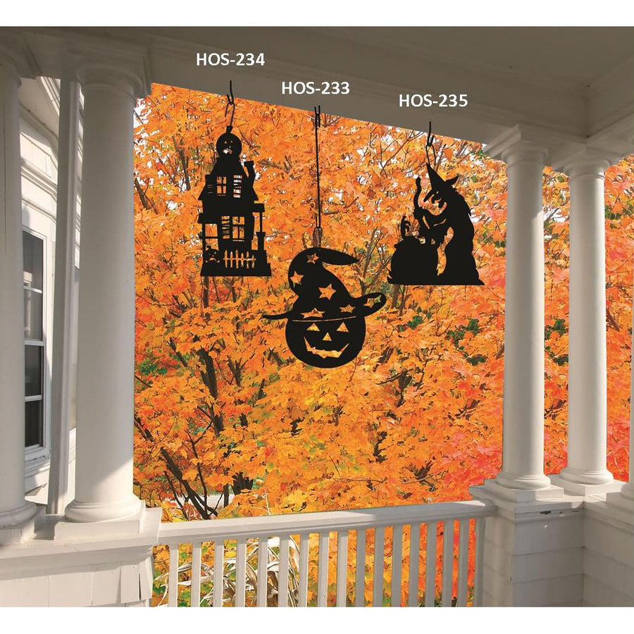 Wrought Iron 17 Inch Haunted House Hanging Silhouette Autumn Decorations Halloween Decorations