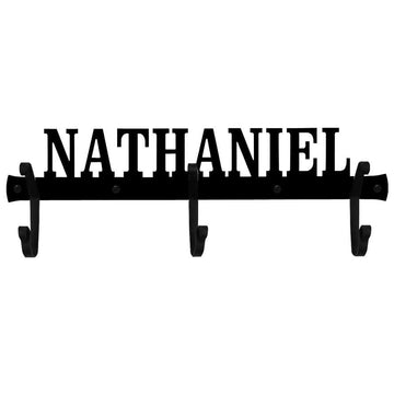 Wrought Iron 3 Hook Personalized Hat & Coat Rack - 9 Letter Towel Rack -Custom Made coat rack coat
