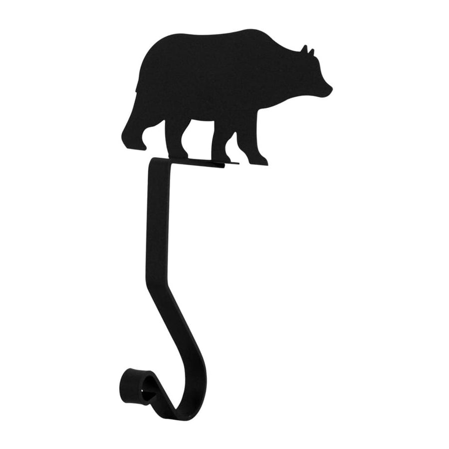 Wrought Iron 9in Bear Christmas Stocking Hanger Fireplace Mantel Hook Christmas decorations