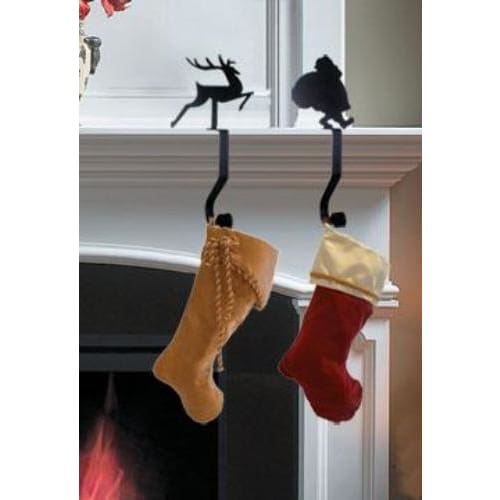 Wrought Iron 9in Reindeer Christmas Stocking Hanger Fireplace Mantel Hook Christmas decorations