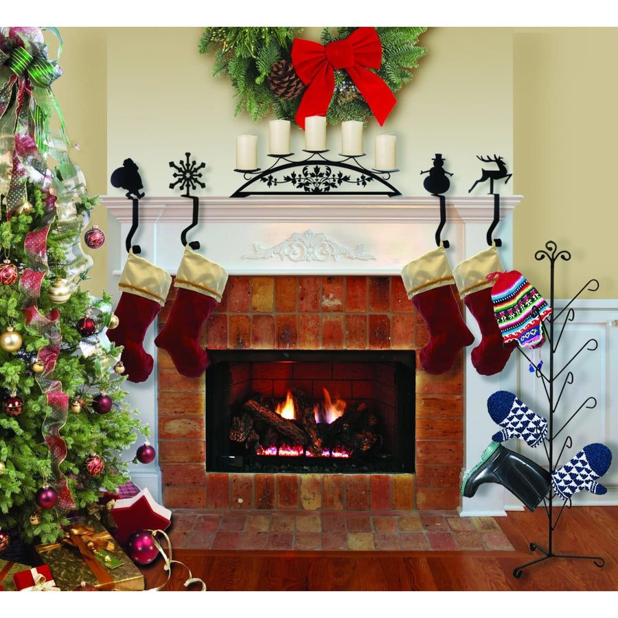 Wrought Iron 9in Sleigh Christmas Stocking Hanger Fireplace Mantel Hook Christmas decorations