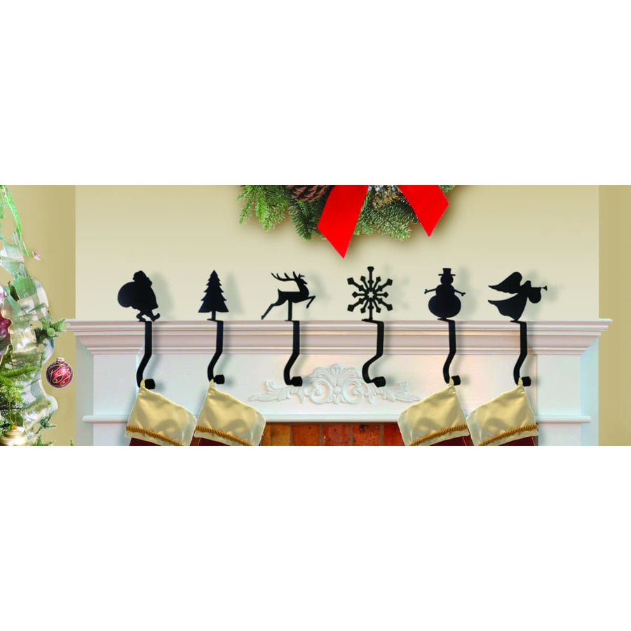 Wrought Iron 9in Snowflake Christmas Stocking Hanger Fireplace Mantel Hook Christmas decorations