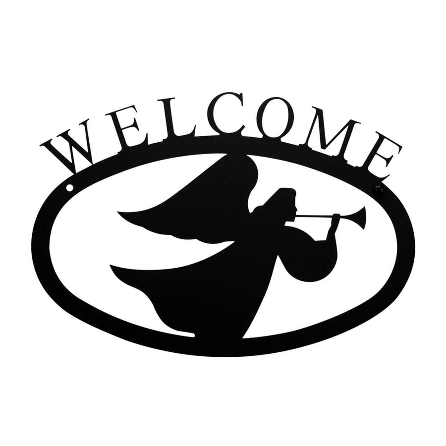 Wrought Iron Angel Welcome Home Sign Small Christmas decorations door signs outdoor signs welcome