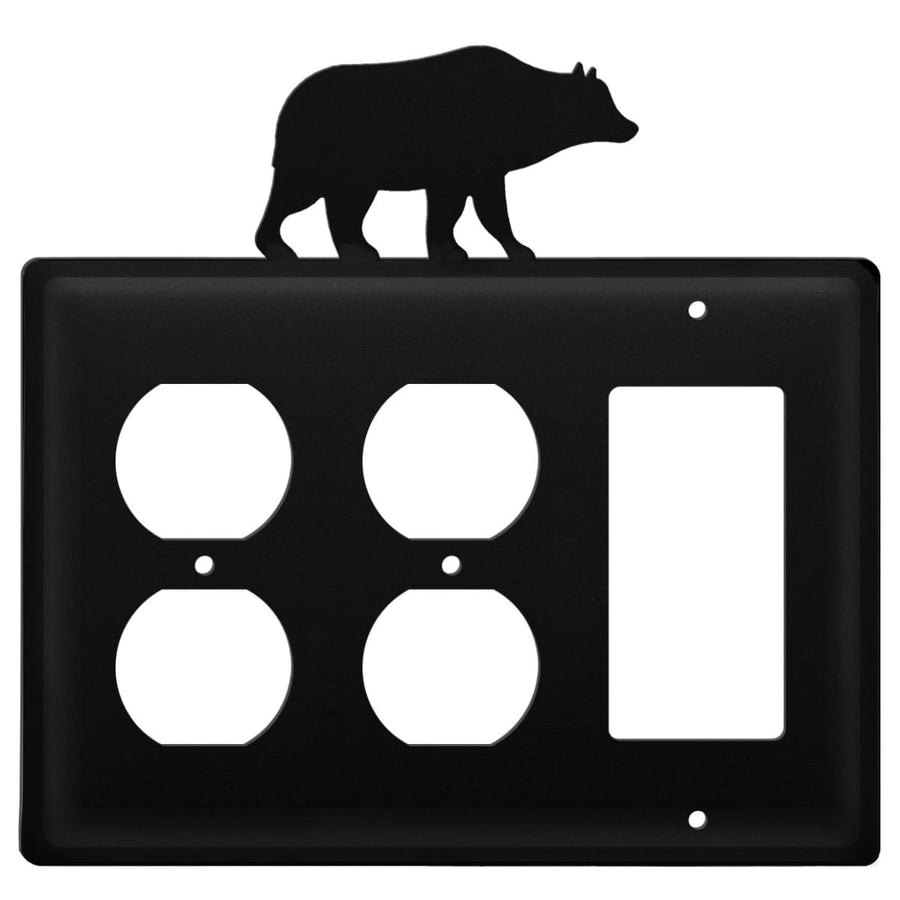 Wrought Iron Bear Double Outlet GFCI Cover light switch covers lightswitch covers outlet cover