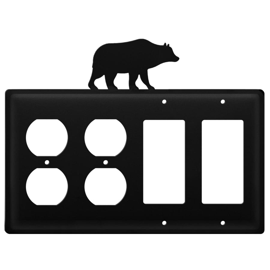 Wrought Iron Bear Double Outlet Double GFCI Cover light switch covers lightswitch covers outlet