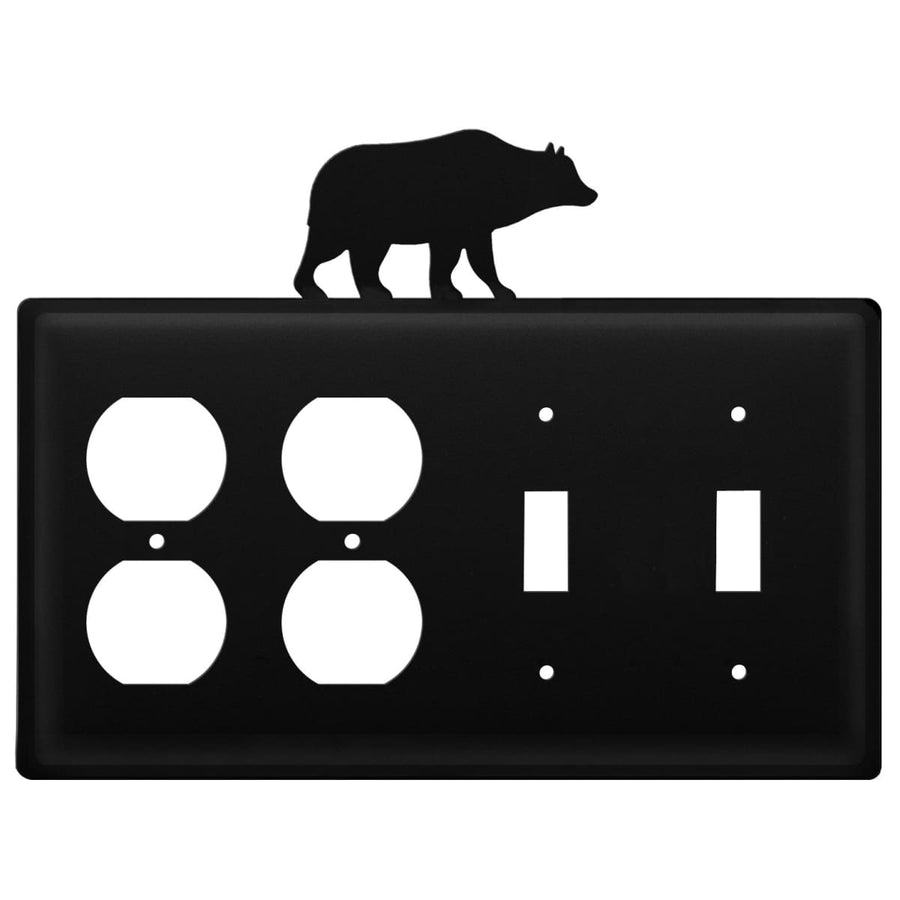 Wrought Iron Bear Double Outlet Double Switch Cover light switch covers lightswitch covers outlet