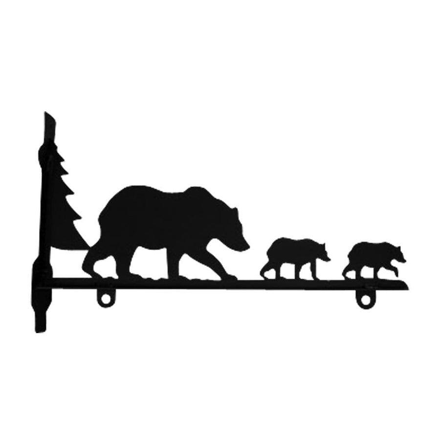 Wrought Iron Bear Family Sign Post Bracket 24 in decorative posts metal sign post pole sign real