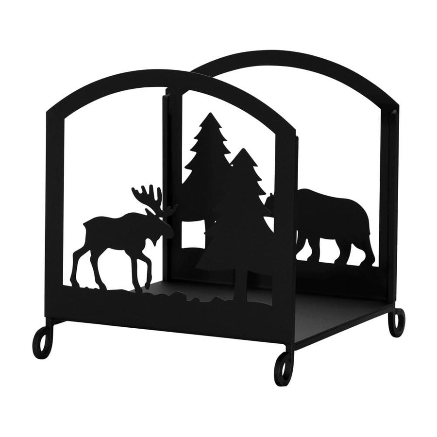 Wrought Iron Bear & Moose Firewood Rack Firewood Holder firewood carrier firewood rack firewood