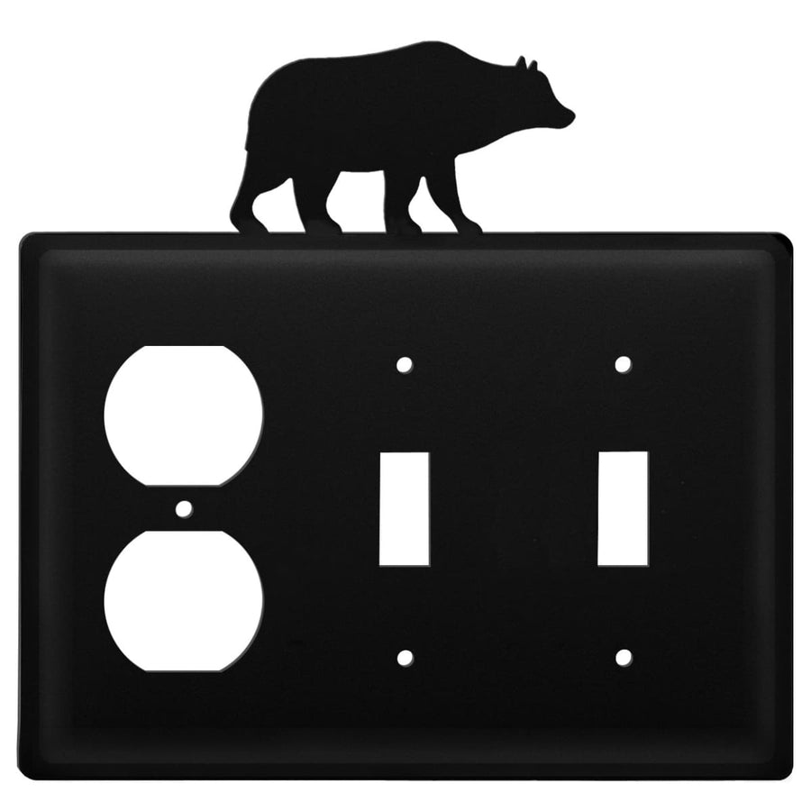 Wrought Iron Bear Outlet Double Switch Cover light switch covers lightswitch covers outlet cover