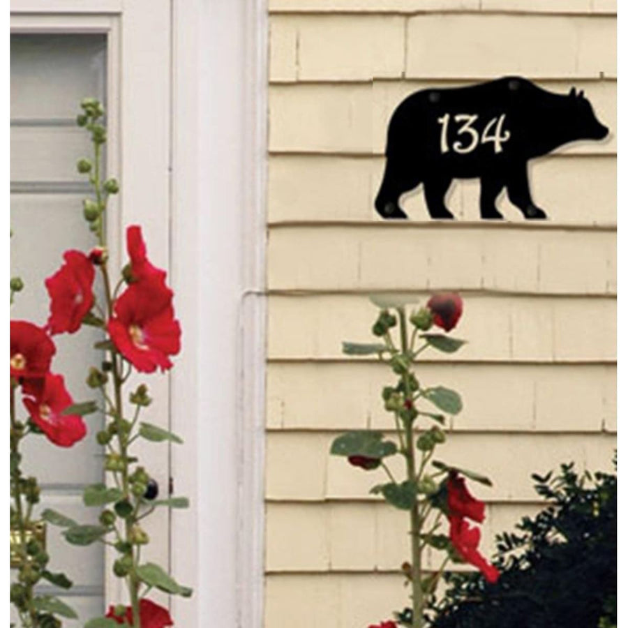 Wrought Iron Bear Personalized House Plaque 12 Letters -Custom Made house signs lawn decor metal