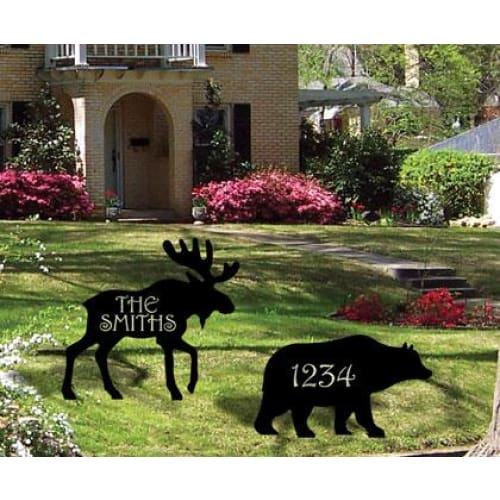 Wrought Iron Bear Personalized Lawn Plaque 12 Letters -Custom Made house signs lawn decor metal name