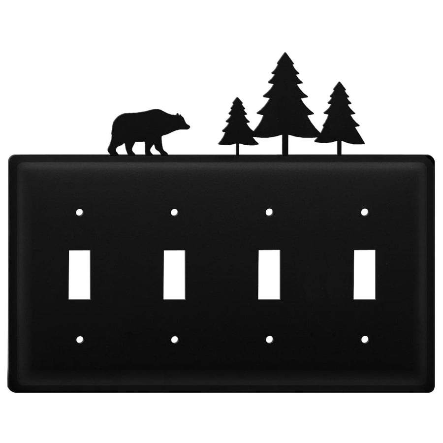 Wrought Iron Bear & Pine Quad Switch Cover light switch covers lightswitch covers outlet cover