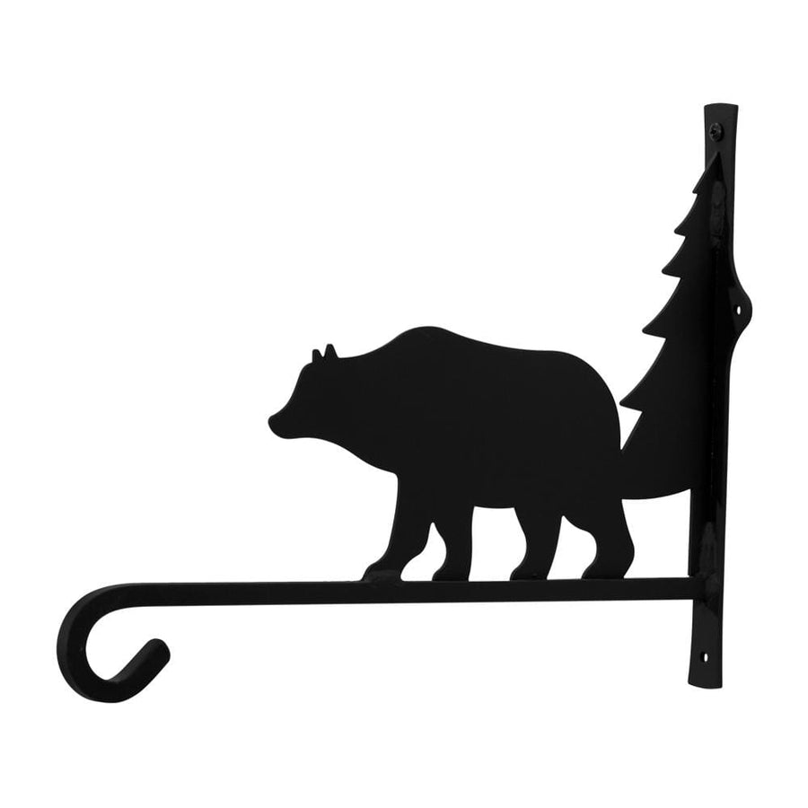 Wrought Iron Bear & Pine Square Plant Hanger 12in hanging plant stand metal plant stands outdoor