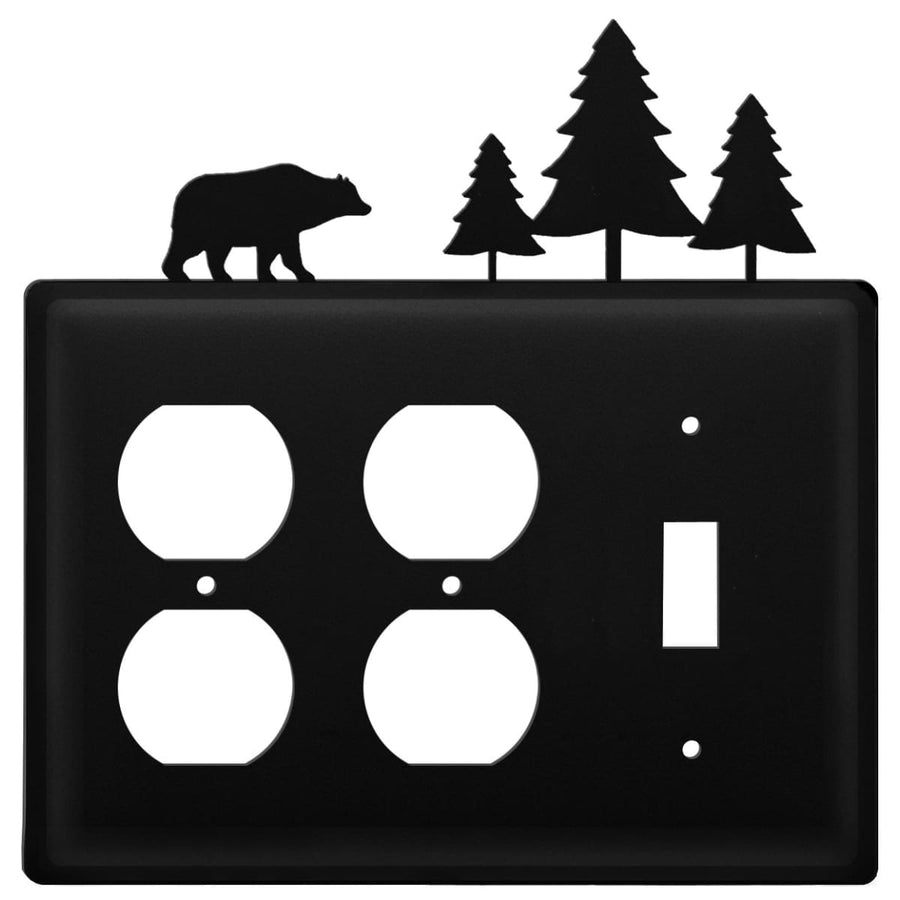 Wrought Iron Bear Pine Trees Double Outlet Switch Cover light switch covers lightswitch covers