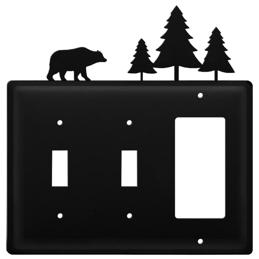 Wrought Iron Bear & Pine Trees Double Switch & GFCI new outlet cover Wrought Iron Bear & Pine Trees