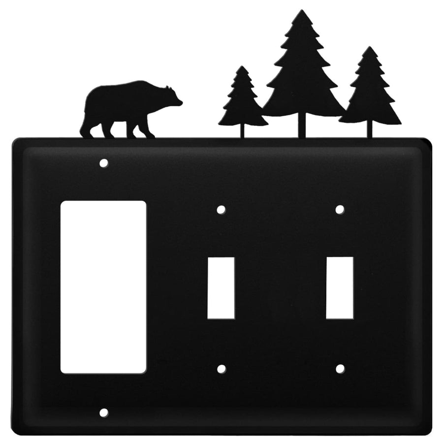 Wrought Iron Bear Pine Trees GFCI Double Switch Cover light switch covers lightswitch covers outlet