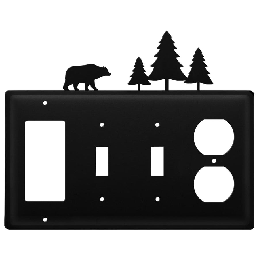 Wrought Iron Bear Pine Trees GFCI Double Switch Outlet Cover light switch covers lightswitch covers