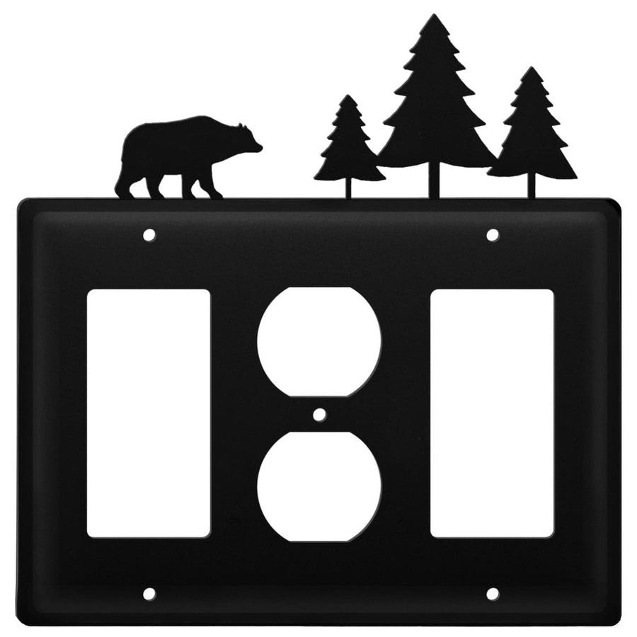 Wrought Iron Bear Pine Trees GFCI Outlet GFCI Cover light switch covers lightswitch covers outlet