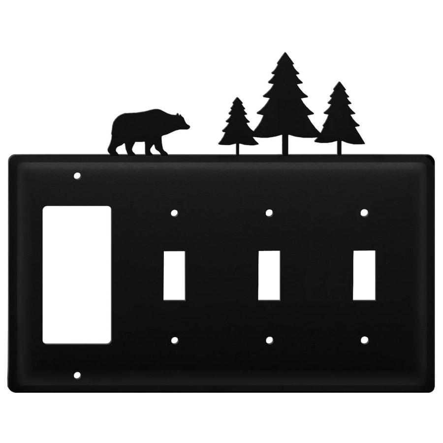 Wrought Iron Bear Pine Trees GFCI Triple Switch Cover light switch covers lightswitch covers outlet