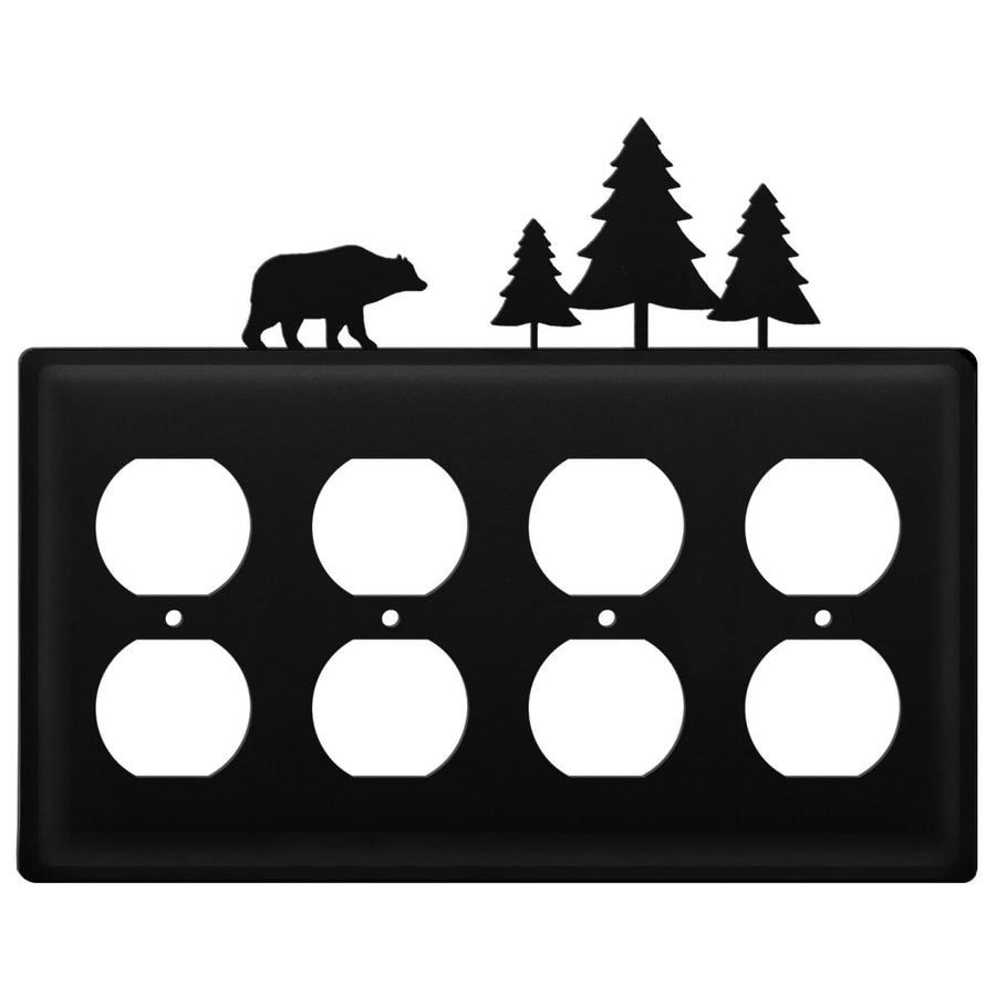 Wrought Iron Bear & Pine Trees Quad Outlet Cover light switch covers lightswitch covers outlet cover