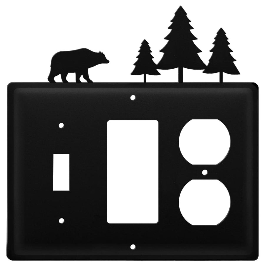 Wrought Iron Bear Pine Trees Switch GFCI Outlet Cover light switch covers lightswitch covers outlet