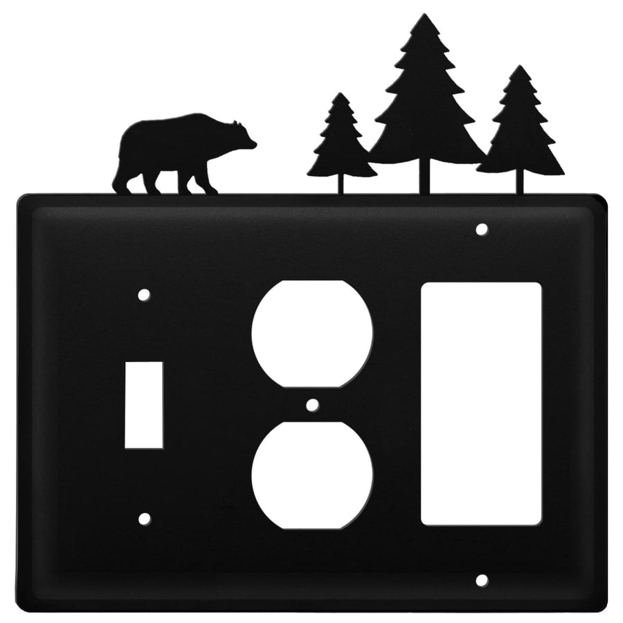 Wrought Iron Bear Pine Trees Switch Outlet GFCI Cover light switch covers lightswitch covers outlet