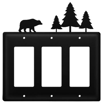 Wrought Iron Bear & Pine Trees Triple GFCI Cover light switch covers lightswitch covers outlet cover