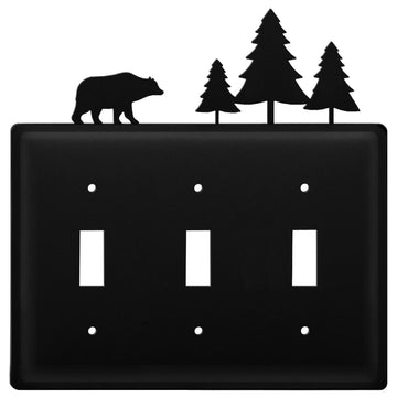 Wrought Iron Bear & Pine Triple Switch Cover light switch covers lightswitch covers outlet cover