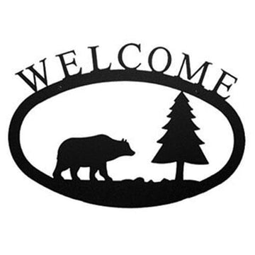 Wrought Iron Bear & Pine Welcome Home Sign Large door signs featured outdoor signs welcome home sign