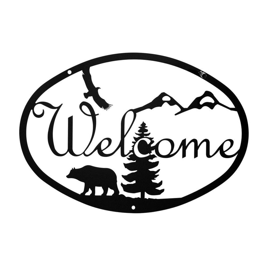 Wrought Iron Bear Welcome Home Sign Medium door signs outdoor signs welcome home sign welcome home