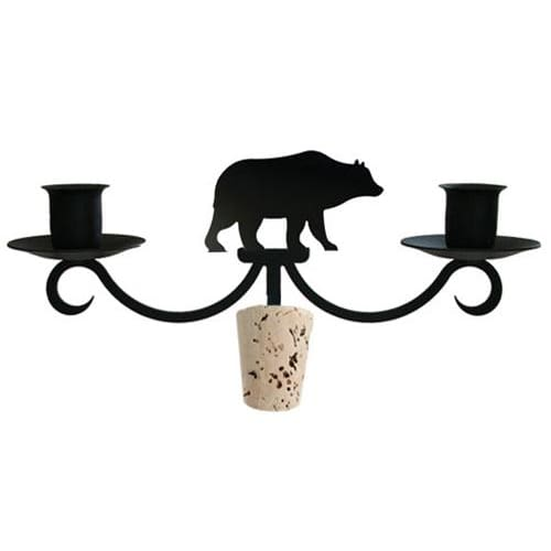 Wrought Iron Bear Wine Bottle Stopper Candelabra candelabra candelabrum candle holder romantic