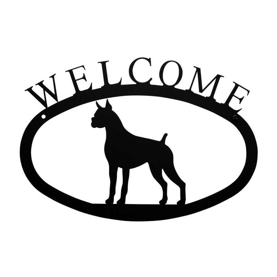 Wrought Iron Boxer Dog Welcome Home Sign Small door signs outdoor signs welcome home sign welcome