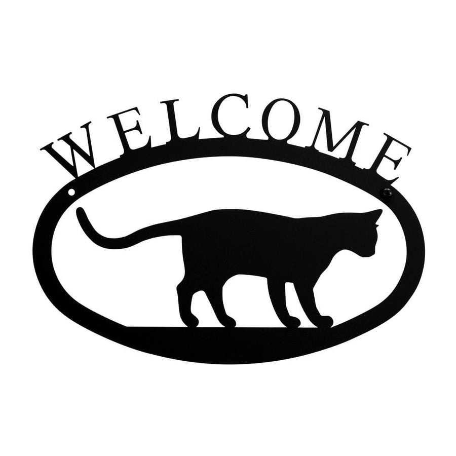 Wrought Iron Cat at Play Welcome Home Sign Small door signs outdoor signs welcome home sign welcome