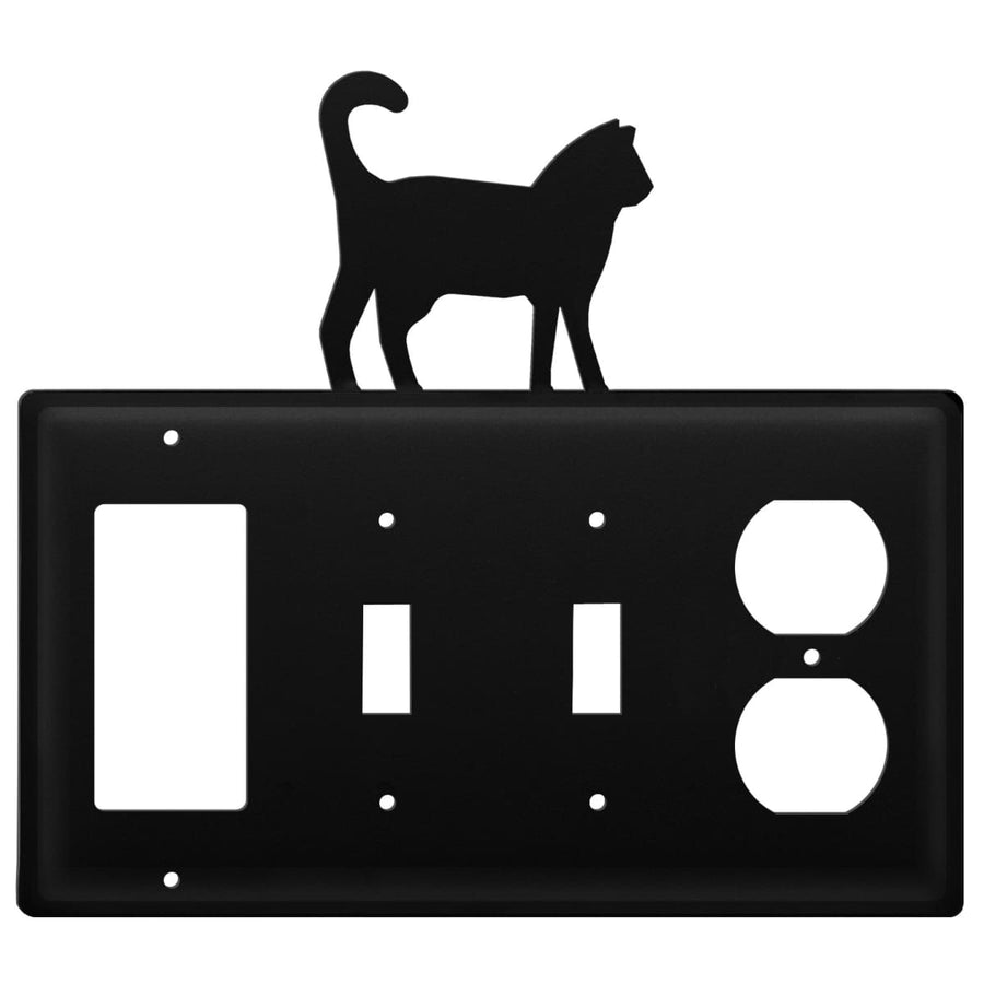 Wrought Iron Cat GFCI Double Switch Outlet Cover light switch covers lightswitch covers outlet cover