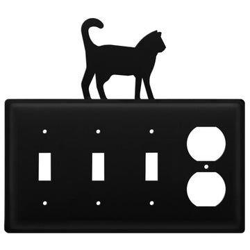 Wrought Iron Cat Triple Switch & Single Outlet new outlet cover Wrought Iron Cat Triple Switch &