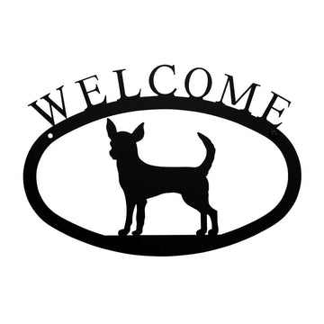 Wrought Iron Chihuahua Dog Welcome Home Sign Small door signs outdoor signs welcome home sign